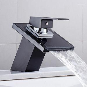 Faucet de la cuenca de la cascada de HotBest para el baño Black Deck Mount Cuadrado Vanity Flatity Frift Mezcador Tap palanca de una sola palanca de vidrio sólido1