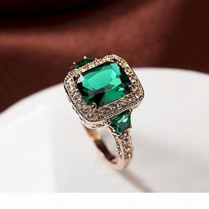 K Fashion Genuine Austria Crystal Luxury Classic Rectangle Green Stone Ring Square Red Cz 4 Prong Vintage Women Jewelry