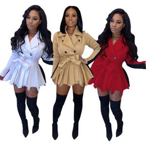 Desinger de las mujeres vestido de la manera adelgazan la capa de la falda del contraste del color de la chaqueta del invierno del otoño de manga larga superior para Mujeres de la ropa del tamaño 89