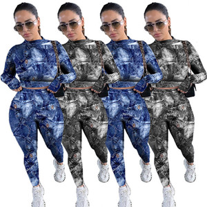 Women S-2XL  tie-dye fall winter casual clothing tracksuits hoodies leggings 2 piece set plain outfits pullover capris DHL