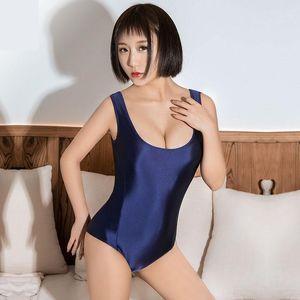 Hot Sexy Giapponese Kawaii Shiny Costume da bagno con cerniera Open Crotch Body Beath Beath Body Suit Tops Donne Costumi da bagno Costume da bagno Tight1