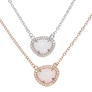 ARGENT plaqué or rose opale pierre inégale pave cz arround triangle feu blanc opale collier de mode de haute qualité