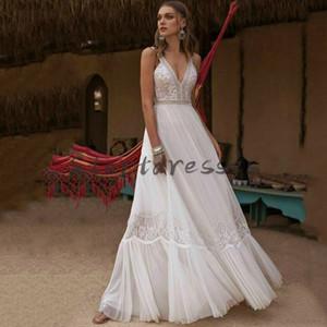 Sexy Backless Boho Wedding Dresses 2021 Chic Lace V Neck Summer Beach Wedding Dress Cheap Beautiful Robes De Mariée Elegant Sleeveless Bride