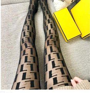 Kadın Moda Mesh Kahverengi Külotlu Çorap Tam Mektup Ince Pretty Siyah Ince Tayt Gece Kulübü Parti Çorap Elastik İpek Çorap