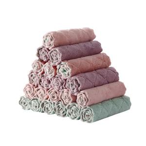 Dupla Face Super absorvente Dishcloth Limpo Coral Velvet prato toalha de cozinha de cor dupla Dry Wet Toalhas 0 32jy G2