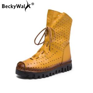 BeckyWalk Nouveau 2020 Automne Femmes Bottes Breathabel trous talon plat Bottines Femmes Mode véritable Chaussures en cuir décontractée WSH3063