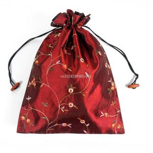 50pcs Chinese Handmade Borse di stoccaggio per matrimoni Bomboniere Embroiddd Floral Silk Shoe Bags Deposito Party Gift1