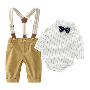 Neonati maschi Gentleman Outfits Abiti da sposa, Infant shirt manica lunga + bib + Bow Tie Tuta Abbigliamento Set Yellow Y1105