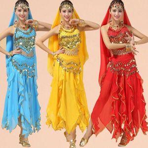 Performance Belly Dancing Costumes Women Bollywood Dance wear clothes Set Girls Ballroom Outfits Veil Top Belt Skirt Suit
