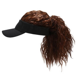 Women Fake Flair Visor Sun Hat Newest Novelty Baseball Wig Cap Toupee Funny Hair Snapback Hats Casquette Cool Gift 201023