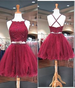 2021 Short Burgundy Two Pieces Prom Homecoming Dresses with Spaghetti Straps Lace Beaded Sequins Graduation Formal Cocktail Dress Cheap