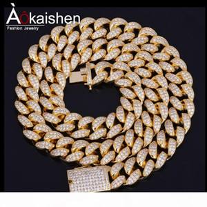 """Finish Men's 20mm Heavy Iced Out Zircon Miami Cuban Link Necklace Choker Bling Bling Hip hop Jewelry Gold Silver Chain 18"""" 20&quot"""