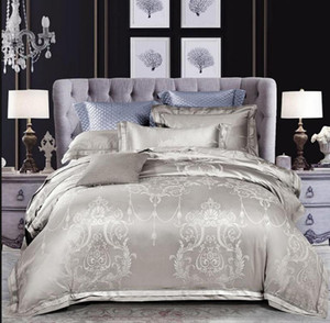 Silver gray Jacquard Duvet cover Bed sheet Pillowcases Queen King Size 4 6pcs Satin Bed set Silk cotton Bedding Set Home Textile