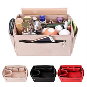 HHYUKIMI Multifunction Felt Cosmetic Bag Handbag Organizer Insert Travel Inner Purse Makeup Organizers Fit Various Brand Bags