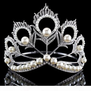 New Arrival Big Size 2017 Miss Universe Same Crown Full Round Adjustable Silver Pearl Peakcock Feather Tiara Pageant S919