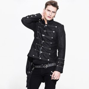 Steampunk Gothic Men's Winter Rock Jacket Long Sleeve Visual Kei Asymmetric Jackets Male Fashion Military Thick Short Coat Y1112