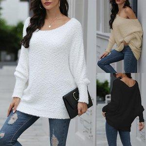 Новый сексуальный без бретелек Сыпучие пуловер свитер осени Сплошной цвет Женские трикотажные свитера