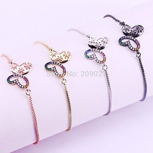 10Pcs Fashion Gold Rose Gold Black color rainbow CZ micro pave Butterfly Charm Connector Bracelets