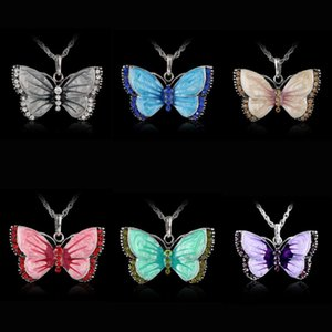 Joyería de Rinhoo Mariposa Colgante Colgante Rhinestone Mariposa Joyería Animal Collar para Mujeres Cristal