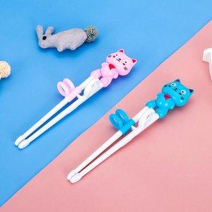 Enfants Formation antidérapage Chopsticks apprentissage portable bébé supplément alimentaire à manger Vaisselle Nourrir Pratique Cartoon Chopsticks HWD2920