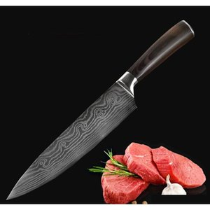 wholesale kitchen tools stainless steel damascus knife delicate color wooden handle slicing fruit vegetable meat sharp knife dh0587
