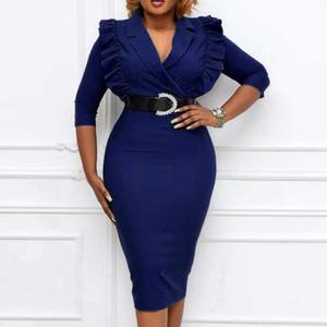 Women Office Ladies Dress Slim Elegant Work Wear Ruffles V Neck Classy Modest Elastic Female African Spring Fahion New 2021 Wear