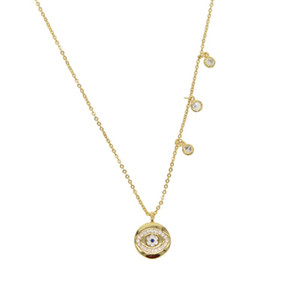 2020 top quality lucky evil eye drip cz pendant turkish evil eyes round gold fill fashion necklace ethnic womens simple jewelry
