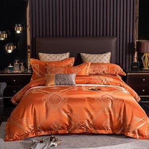 2021 Luxury 600TC Cotton Bedding Set Jacquard Bed Linens Flat Sheet Set Orange Bedclothes Queen King Size Bed Cover 4pcs