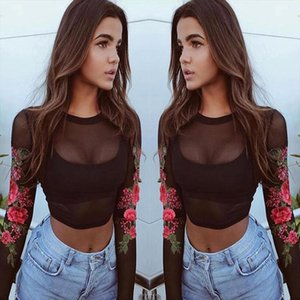 tops high quality girl Sexy Lace Appliques Rose Long Sleeves Tops t Shirt summer tops for women 2020 ap26