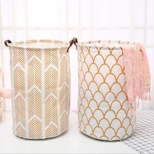 INS Laundry Baskets 큰 용량 세탁 가방 린넨 코튼 장난감 저장 가방 양동이 호텔 의류 주최자 플라밍고 선인장 세탁소 Aha2156