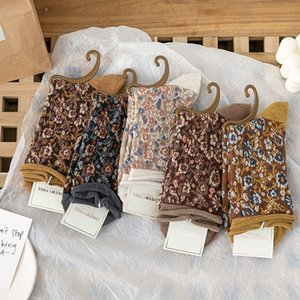 Kadın Sonbahar ve Kış Kadın Kısa Çizme Çorap Casual Çorap için Moda Geleneksel Stil Çiçek Çizme Çorap