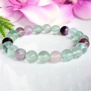 MG1109 Natural Rainbow Fluorite Bracelet Negative Energy Protection Bracelet Healing Crystals Gems tone Bracelet Intuition Jewelry