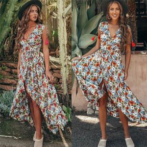 New Fashion Women Floral Maxi Long Dress Sleeveless High Waist Ladies Casual Dress Holiday Party Dress Beach Summer Sundress