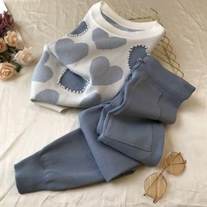 été coréenne love imprimé tricotée 2 Peice Set Femmes manches courtes Pull perler Hauts pour femmes + costume pantalon décontracté rose Survêtement 201007