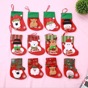 Colori di Natale sockings di sacchetti di coltello forcella caramelle decorazioni piccolo pupazzo di alci e Santa set di creatività casa stoviglie borse GGE2116