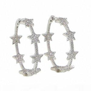 2020 2020 Christmas NEW European Fashion 33mm Stars Hoop Earrings Women Hyperbole Big Earrings Bijoux Brincos Jewelry Gift pDFg#