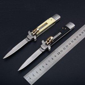 Good quality 9 Inch Italian AB Mafia Stiletto Horizontal Tactical Folding Knife 440C Blade Camping Hunting Survival auto Knifes C81 EDC Tool