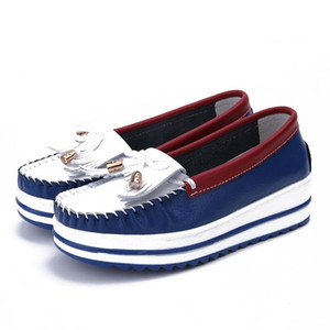 Genuine Leather Shallow Flat Platform Shoes Women New Autumn Fring Flats Big Size 43 Fashion Ladies Casual Mixed Color Flats
