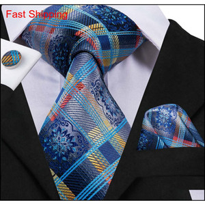 Hi-tie 2018 New Arrival Men's Necktie 100% Silk Blue Striped Luxury Fashion Design Ties Hanky Cufflinks Set qylnrR nana_shop