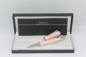 جودة عالية القلم الأسطوانة اللون الوردي الجسم مع تقليم الفضة وأبيض اللؤلؤ مكتب التموين هدية القلم