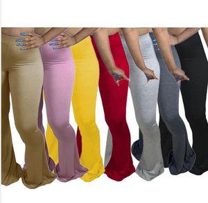 Donne sexy Pantaloni pieni FAT Plus Size Lady Lady Outfit Stile caldo Stile Solido Tight-Fitting Big Flared Pantaloni Pantaloni Pantaloni Leggings Bootcut F92913
