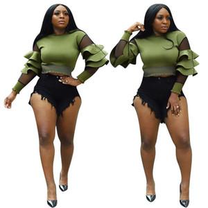 Sexy Ruffle Designer Womens Tshirts Casual Mesh Panelled Fashion Ladies Top Crew Neck Slim Womens Clothes