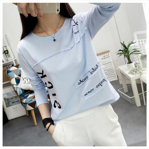 2020 Korean New Women Long Sleeve T shirt Fashion Letter Printed Kawaii Student T shirt Casual Women Tops Roupa Feminina