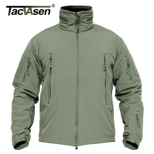 TACVASEN Winter Military Fleece Jacket Mens Soft shell Jacket Tactical Waterproof Army Jackets Coat Airsoft Clothing Windbreaker 201007