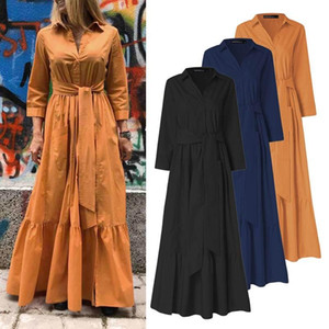 ZANZEA Women's Maxi Dress 2020 Ladies Vintage Patchwork Vestidos Oversize 5XL Female Lace Up Robe Femme Casual Solid Sundress
