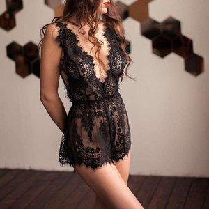 Women Sexy Nightwear See-Through Romper, Floral Mesh Deep V-Neck Elastic Backless Lingerie
