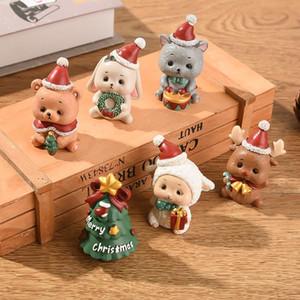 Ornements de Noël Décorations de Noël créatif Résine Arbre de Noël Vieillard Bonhomme de neige animal Cartoon Cadeaux de Noël XD24054