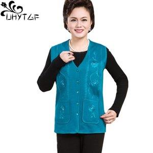 UHYTGF Women's vest Knit cardigan spring autumn vest waistcoat Fashion embroidered mother thin Plus size vests female colete 708