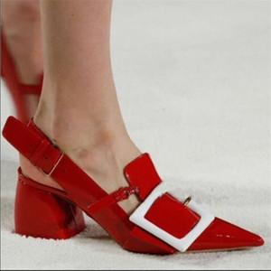 Pointed Toe Runway Shoes Woman Thick Heel Red Wedding Shoes Bridal Pumps Chunky Heels Shoes Women Sexy Escarpins Sapato Feminino 201028