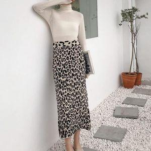 Autumn Winter Women Leopard Knitted Skirt High Waist Side Split Stretchy Wool Blend Bodycon Leopard Print Party Maxi Skirt